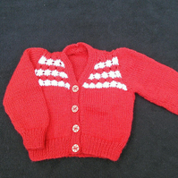 Hand knitted baby cardigan in red with white stripes to fit 18 inch chest