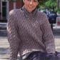 Hand knitted ladies womens mens jumper sweater with all over detailed cables