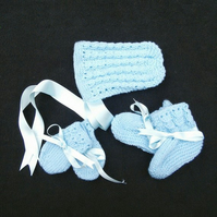 Hand knitted blue baby bonnet booties and mittens set 0 - 3 months blue