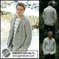 Hand knitted mens jacket cardigan in aran style shawl collar small - XXX large