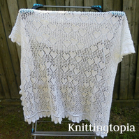 Hand knitted baby christening sweetheart shawl in pure white lace weight yarn