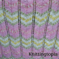 Hand knitted baby pram blanket - baby pink chevron - baby Afghan - pram cover