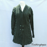 Hand knitted ladies green fit n flared aran style jacket cardigan with cables