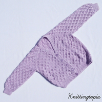 Hand knitted baby girls sparkly mauve cardigan 2 - 3 years 26 inch chest