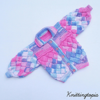 Hand knitted baby cardigan in sparkly pink and blue entrelac 3 - 6 months