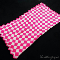 Hand crochet entrelac baby blanket afghan - bright pink and white - pram cover