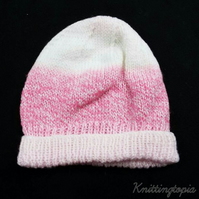 Beanie hat hand knitted in pink and white 20 inch head
