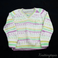 Hand knitted children's multi-colour v neck jumper to fit 5 - 6  years