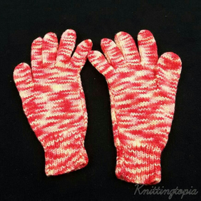 Hand knitted ladies gloves in red and yellow mix yarn