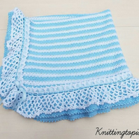 Hand crochet stripe baby blanket afghan - crocheted lacy ruffle edging