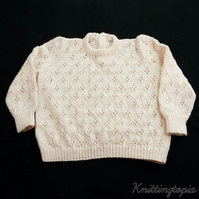 Girls jumper hand knitted in pale pink  30 inch chest  approx age 8 years