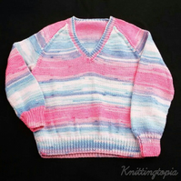 Girls jumper hand knitted in sparkly blue and pink 28 inch chest - girls