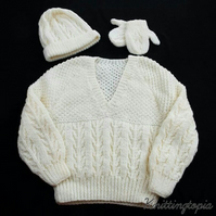 Hand knitted children's aran jumper hat and mittens set 3 - 4 years