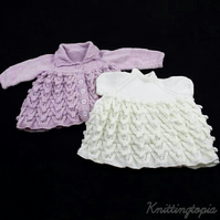 Hand knitted baby sparkly lilac cardigan and sparkly white dress 0 - 3 months