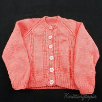 Hand knitted baby cardigan in deep pink 1 - 2 years