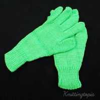 Children's bright green hand knitted gloves