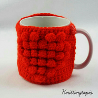 Hand crocheted mug cosy - red heart - valentine's day gift - mother's day gift
