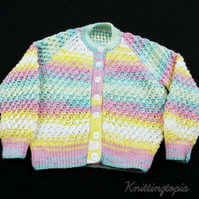 Hand knitted baby cardigan in multicoloured yarn with textured pattern 1 - 2 yrs
