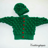 Hand knitted baby green bobble cardigan and matching hat 0 - 6 months