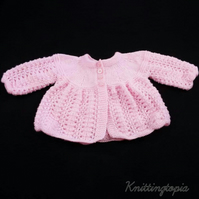 Hand knitted pink baby cardigan 3 - 6 months matinée coat