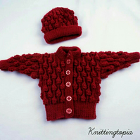 Hand knitted baby bobble cardigan and matching hat maroon 0 - 6 months