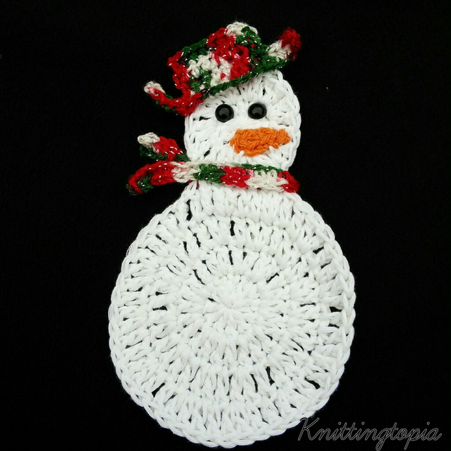 Hand Crocheted Festive Christmas Snowman Drinks Folksy
