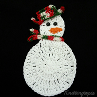Hand crocheted festive Christmas snowman drinks coasters