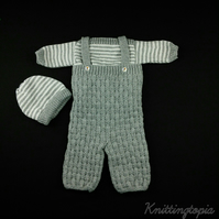 Hand knitted baby jumper dungarees and hat set 0 - 3 months grey and white