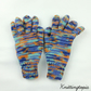 Hand knitted children's gloves in blue and orange mix