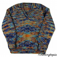 Hand knitted children's blue and orange v neck jumper to fit 5 - 6  years