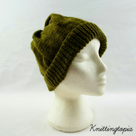 Hand knitted mens beanie hat in olive green - gents beanie hat - winter hat