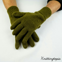 Hand knitted gents mens gloves in olive green - winter accessories