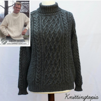 Hand knitted unisex jumper sweater aran style cable for men or women - ladies