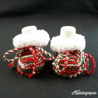 Hand knitted Christmas red green and white fur trim baby booties 0 - 3 months