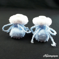 Hand knitted baby boy blue booties with white fur trim 0 - 3 months