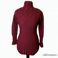 Hand knitted ladies women's long line jumper tunic with cable pattern