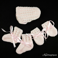 Hand knitted pink baby bonnet booties and mittens set 0 - 3 months