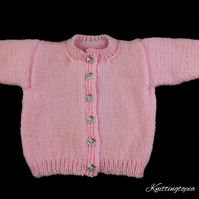 Pink baby girl hand knitted round neck cardigan 0 - 3 months