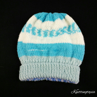 Blue and cream hand knitted aran baby hat 17 inch head 6 months