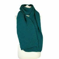 Hand knitted ladies mens winter scarf in teal green blue