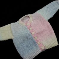 Hand knitted baby cardigan pastel shades of blue pink green lemon 0 - 3 months