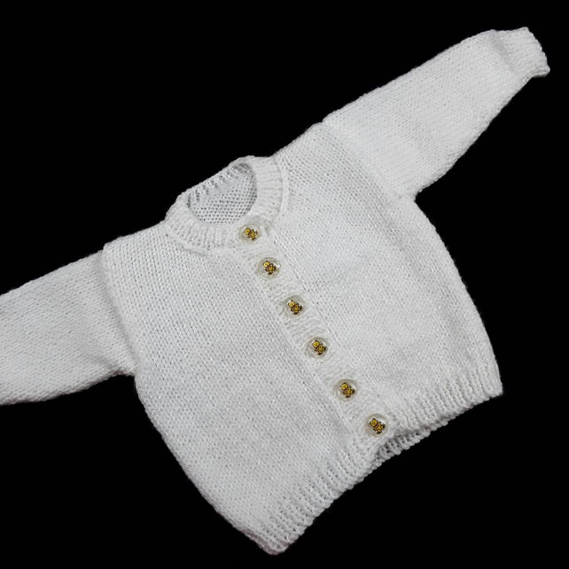 cf7d8c201aa9 Hand knitted white baby boy girl cardigan 0 - ... - Folksy