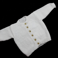 Hand knitted white baby boy girl cardigan  0 - 3 months round neck