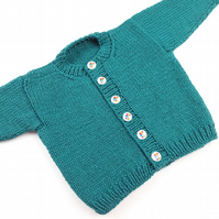 Hand knitted sea green  baby boy girl cardigan  0 - 3 months round neck