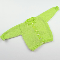 Hand knitted lime green baby boy girl cardigan  0 - 3 months round neck