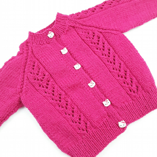 Baby girl cardigan hand knitted cerise pink yarn lace panels 6 - 12 months