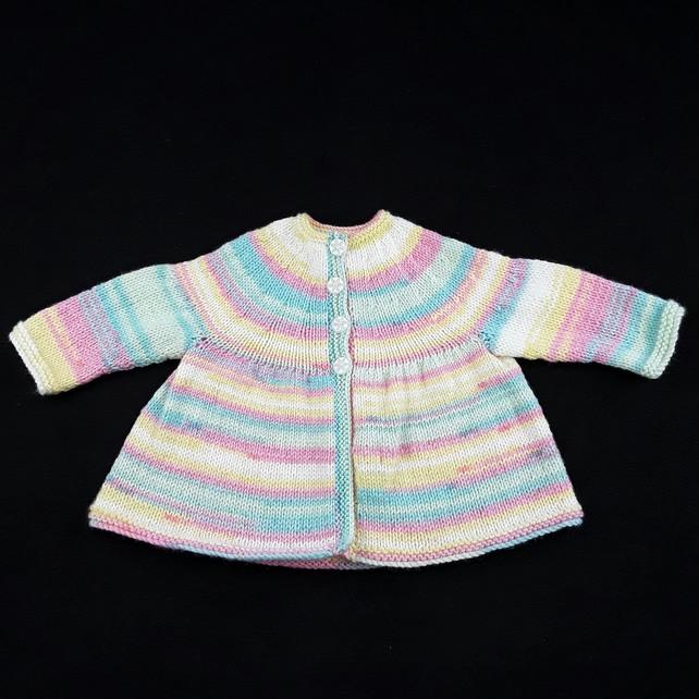 e918223b26de Hand knitted newborn baby girl cardigan in past... - Folksy
