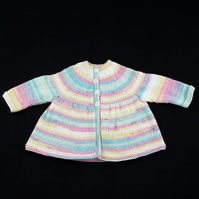 Hand knitted newborn baby girl cardigan in pastel stripes - matinée coat