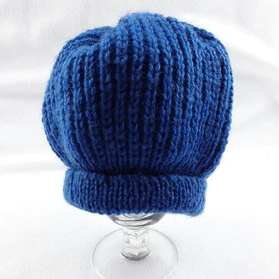 Hand knitted baby ribbed hat in blue 17 inch head 6 - 12 months