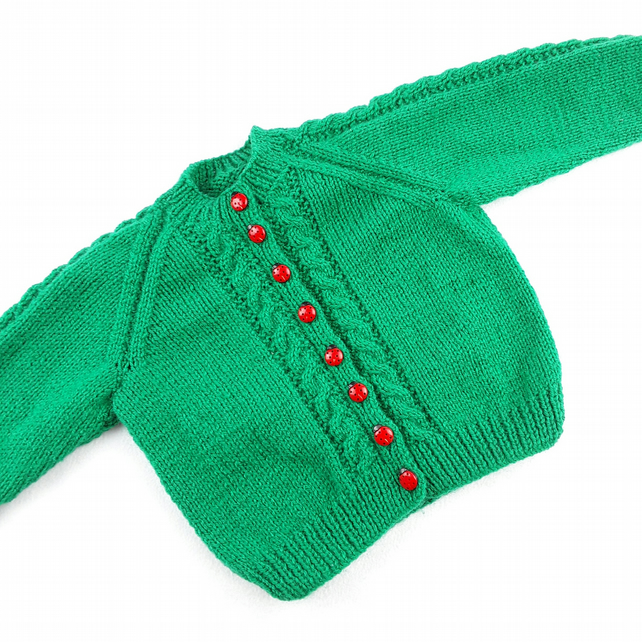 Baby girl cardigan hand knitted emerald green with cables 12 - 24 months